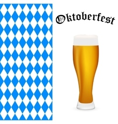 Symbols Oktoberfest beer and Bavarian flag vector