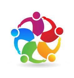 teamwork people hugging and coming together vector image