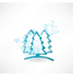 Three fir-tree grunge icon vector image