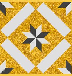 Tile decorative floor pattern or gold background vector