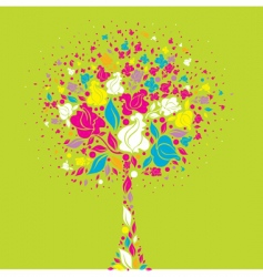 tree symbol from colorful flowers vector image vector image