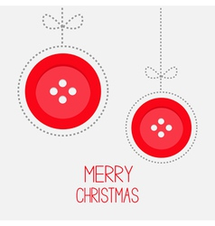 Two hanging red button ball with bow dash line vector image