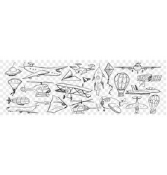 various air vehicles during flight doodle set vector image