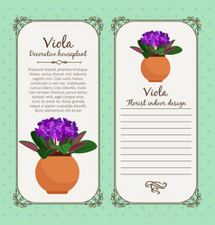 vintage label with viola plant vector image
