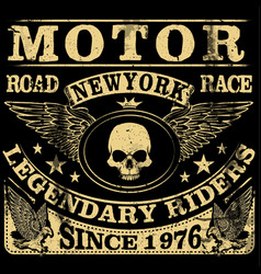 Vintage motorcycle hand drawn grunge vintage vector
