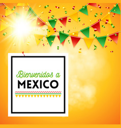 Welcome to mexico poster with sunny background vector