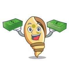 With money bag sea shell mascot cartoon vector