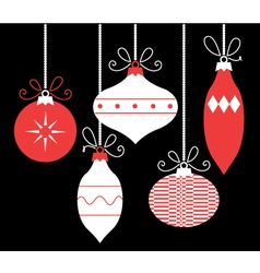Colorful retro Christmas balls isolated on black vector image