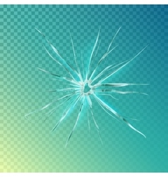 Crack on window or glass shattered screen vector image vector image