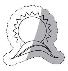 monochrome contour sticker with sun over hill vector image
