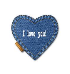 Blue jeans heart on denim background vector