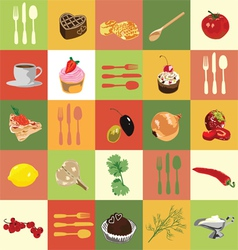 colored squares with food vector image vector image