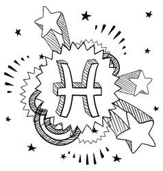 doodle pop astrology pisces vector image