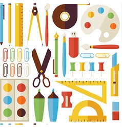 Flat Seamless Pattern Back to School Objects and vector image
