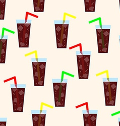 Seamless Pattern with Glass of Cola Background vector image