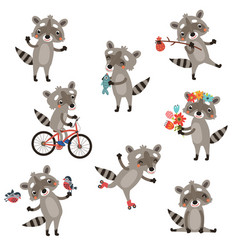 set of funny raccoons vector image