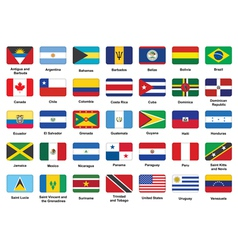 American countries flag icons vector image vector image