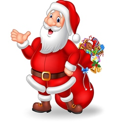 Cartoon funny santa presenting isolated vector image vector image