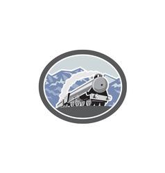 Steam Train Locomotive Mountains Retro vector image vector image