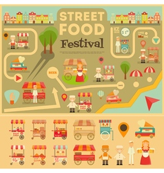 Street food on city map vector