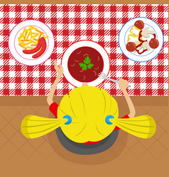 top view of little girl eatting soup vector image