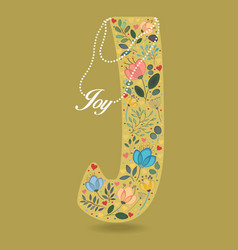 yellow letter j with floral decor and necklace vector image vector image