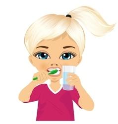 Cute little girl brushing teeth vector image