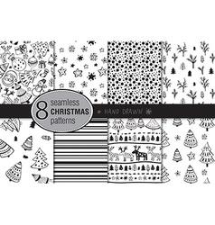 Set of eight seamless hand drawn christmas vector image