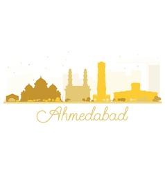 Ahmedabad City skyline golden silhouette vector