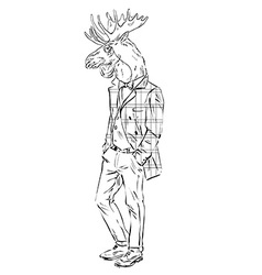 Anthropomorphic design of moose hipster vector