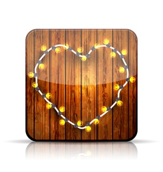 app icon A heart garland on wooden background vector image