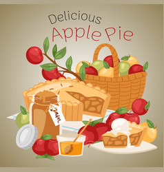 Apple pie banner apple basket vector