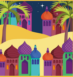 Arabian towers palace palms stars sand desert vector
