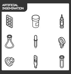 Artificial insemination outline isometric icons vector