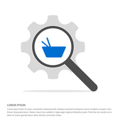 Asian food icon search glass with gear symbol vector