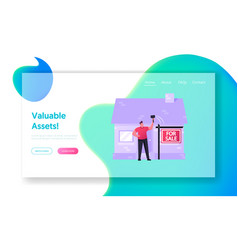 Assets and liabilities landing page template vector