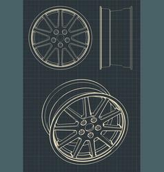 Automotive alloy wheels vector