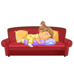 Baby girl sleeping on couch vector
