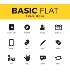 Basic set of Social icons vector image