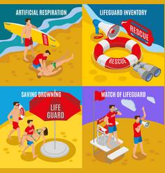 Beach lifeguards 2x2 design concept vector