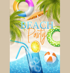 beach party poster vector image