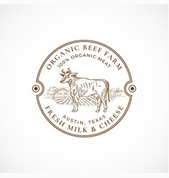 Beef and milk farm framed retro badge or logo vector