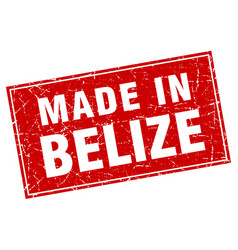 Belize red square grunge made in stamp vector