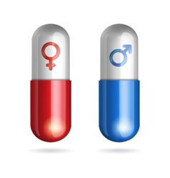 Blue and red pills with male female symbols vector image