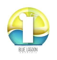 blue lagoon cocktail icon grainy texture vector image