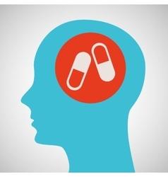 blue silhouette head medicine capsule icon design vector image