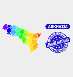 Bright mosaic abkhazia map and grunge legalize vector
