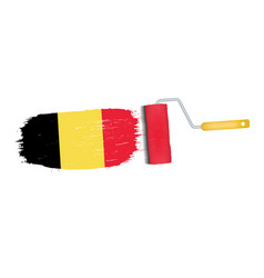 brush stroke with belgium national flag isolated vector image
