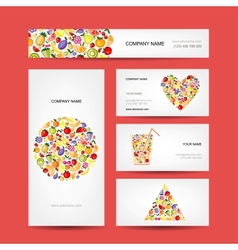 Business cards design fruit collection vector image