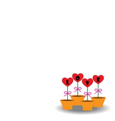 Card Heart in pots vector